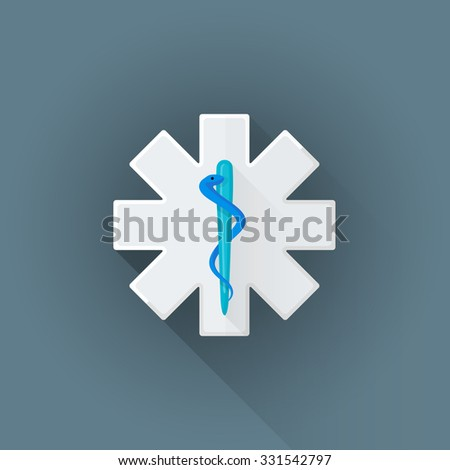 vector white colored flat design ambulance cross sign blue snake Rod of Asclepius symbol illustration isolated dark background long shadow - stock vector