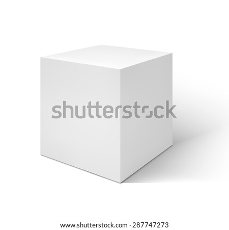 Vector White cube  isolated on white background - stock vector