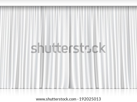 Vector White Curtains Isolated on White Background - stock vector