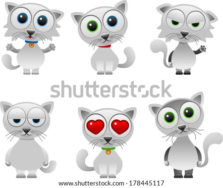 vector white cute cats set - Separate layers for easy editing - stock vector