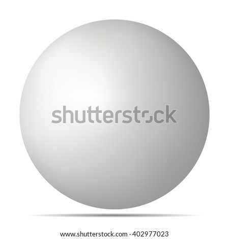 Vector white 3D sphere with realistic shadow and light for logo, design concepts, web, presentations and prints. 3D Vector illustration on white background. Template Ball for your Mock-Up Design - stock vector
