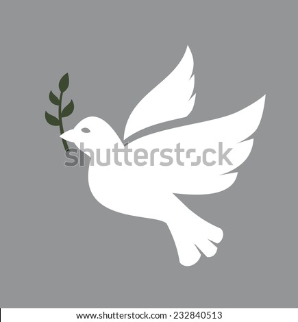vector white Dove icon on white background - stock vector