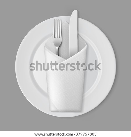 Vector White Empty Flat Round Plate with Silver Fork and Knife and White Folded Envelope Napkin Top View Isolated on Background. Table Setting - stock vector
