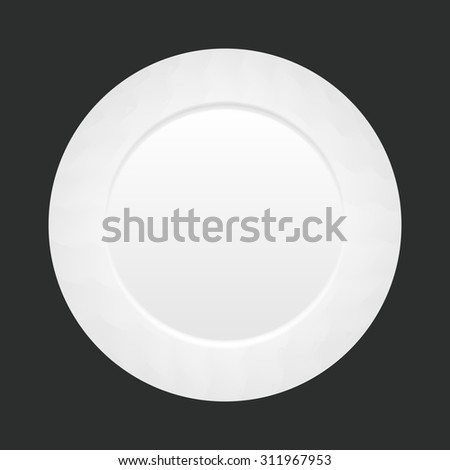 Vector white empty plate on dark background. top view - stock vector