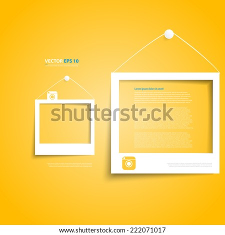 Vector white frames on the yellow wall. Picture frame and shadow with social icon - stock vector