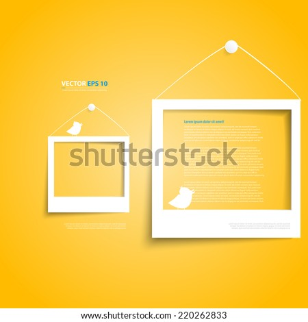 Vector white frames on the yellow wall. Picture frame and shadow with twitter bird - stock vector