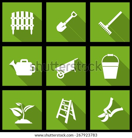 Vector white garden icons set on green - stock vector