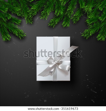 Vector white gift box with bows and ribbons background. Christmas Greeting Card  - stock vector