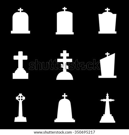 Vector white gravestone icon set. Gravestone Icon Object, Gravestone Icon Picture, Gravestone Icon Image - stock vector - stock vector
