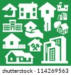 vector white hous icons set on green - stock vector