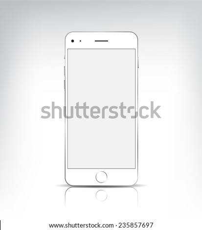 vector white iphone with blank screen isolated. Mock up - stock vector