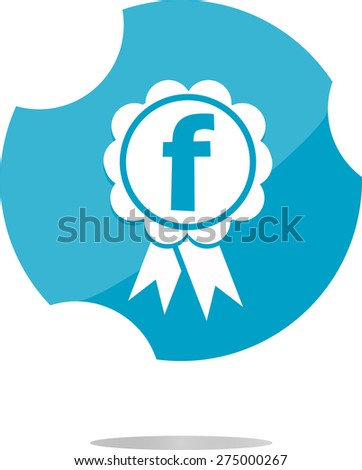 vector white letter F facebook in the web button. Flat design - stock vector