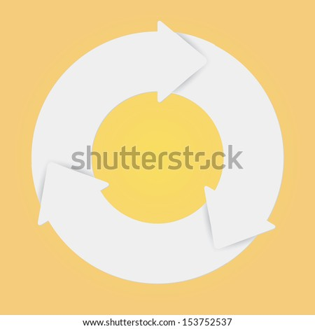 Vector white life cycle diagram. 3 Steps. - stock vector