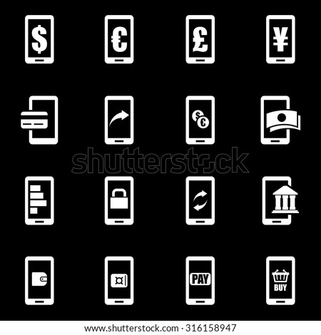 Vector white mobile banking icon set. Mobile Banking Icon Object, Mobile Banking Icon Picture, Mobile Banking Icon Image, Mobile Banking Icon Graphic, Mobile Banking Icon JPG - stock vector - stock vector