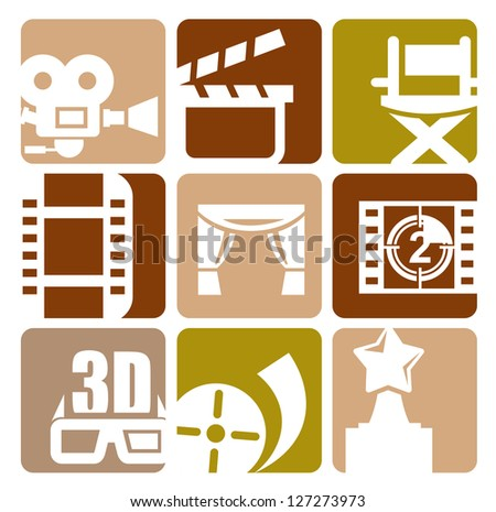vector white movie icon set on color squares - stock vector