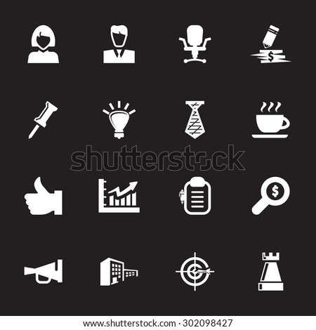 Vector white office and business icon set on black background - stock vector