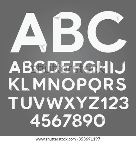 Vector white paper alphabet with folded corners. - stock vector