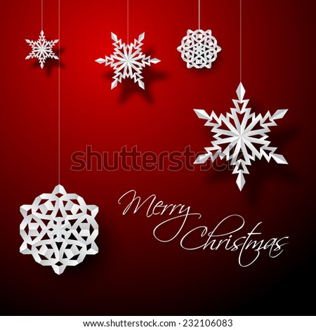 Vector white paper christmas snowflakes on a red background - stock vector