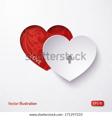 Vector white paper heart on a red matte background. Design element for holiday cards. Valentines Day. Vector illustration. - stock vector
