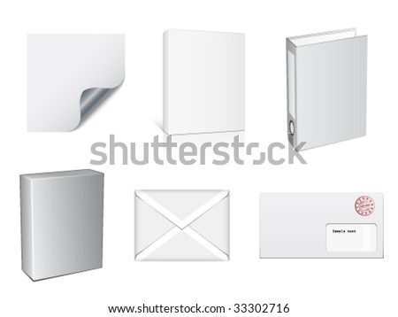 vector white paper objects - stock vector