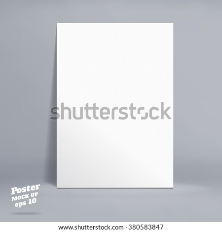 Vector : White paper poster in grey studio room, Template mock up for display of product or your content ,Business backdrop - stock vector
