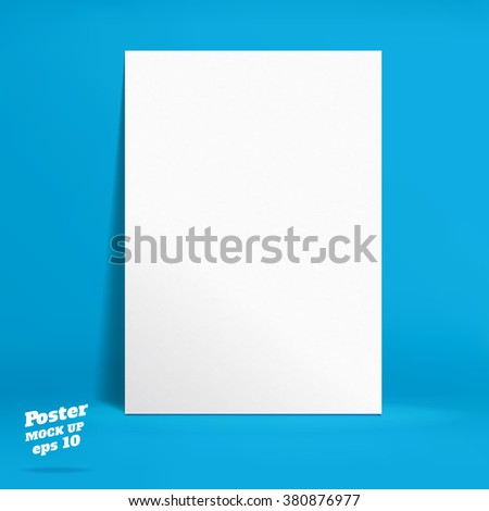 Vector : White paper poster in vivid blue studio room, Template mock up for display of product or your content ,Business backdrop - stock vector