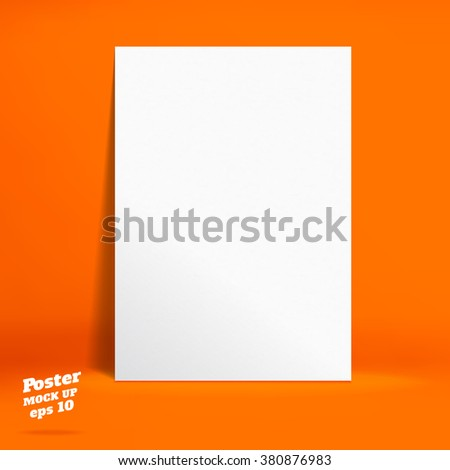 Vector : White paper poster in Vivid orange studio room, Template mock up for display of product or your content ,Business backdrop - stock vector