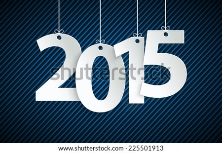 Vector white paper tags with 2015 - stock vector