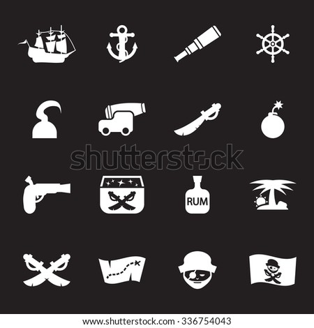 Vector white pirate icon set on black background - stock vector