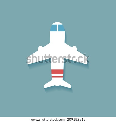 Vector white plane, flat icon on blue background - stock vector