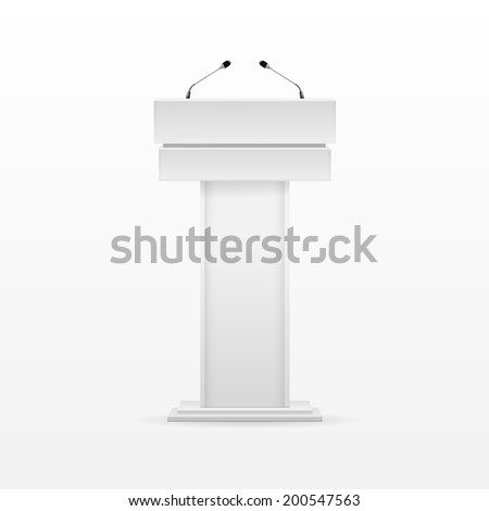 Vector White Podium Tribune Rostrum Stand with Microphones Isolated on Background - stock vector