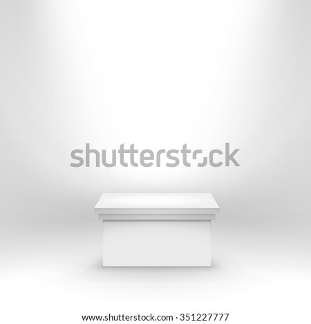 Vector White Podium Tribune Stand Isolated on White Background - stock vector