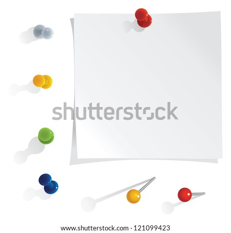 vector white reminder notes with pins set - stock vector