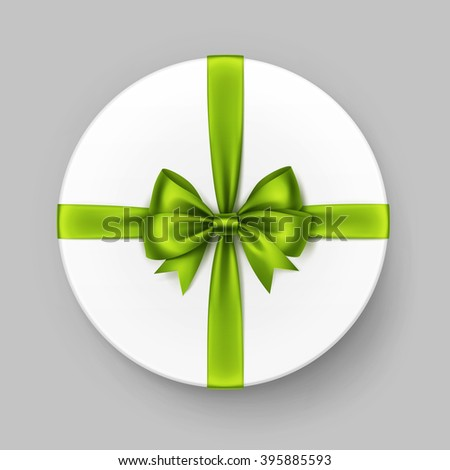 Vector White Round Gift Box with Shiny Light Green Lime Satin Bow and Ribbon Top View Close up Isolated on Background - stock vector