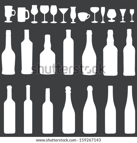 vector white silhouette icon set - bottles and stemware - stock vector