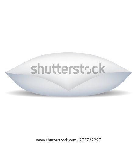 Vector White Soft Pillow Isolated on White Background. - stock vector