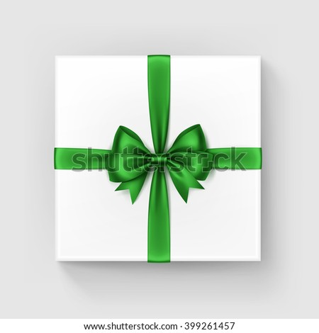 Vector White Square Gift Box with Shiny Bright Green Satin Bow and Ribbon Top View Close up Isolated on White Background - stock vector