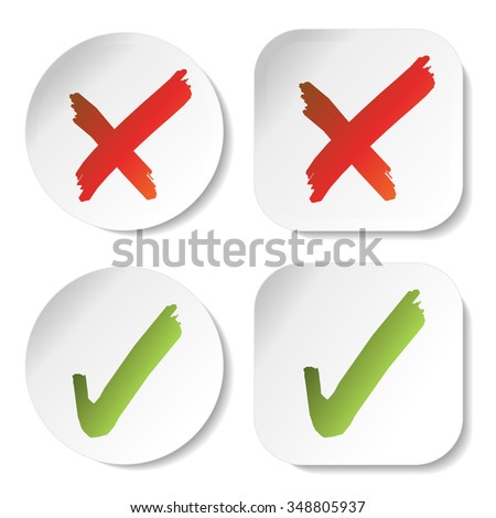 Vector white stickers with check mark symbols, circular and squared buttons - stock vector