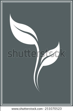 Vector white stylized tea leaf silhouette isolated. - stock vector