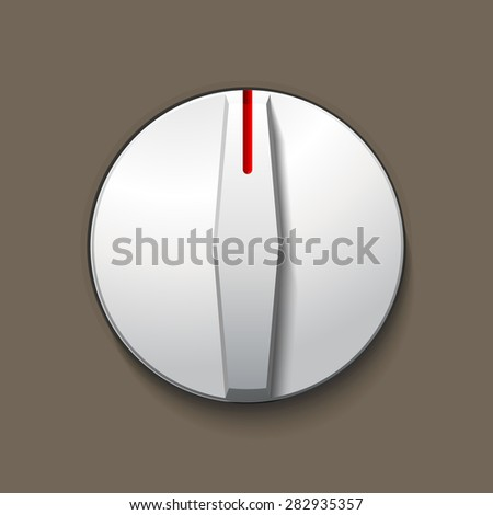 Vector white volume music control, analog knob, level regulator for websites, usability interfaces and applications - stock vector