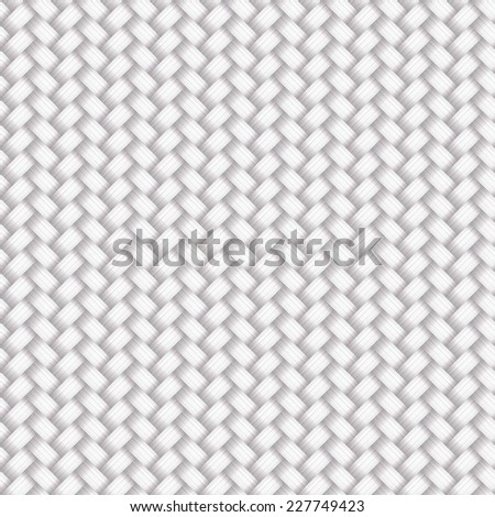 Vector white wicker texture background, seamless pattern - stock vector