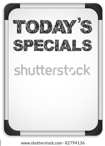 Vector - Whiteboard with Today's Specials Message written with Chalk - stock vector