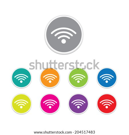 Vector - wifi icon. Round stickers.  - stock vector