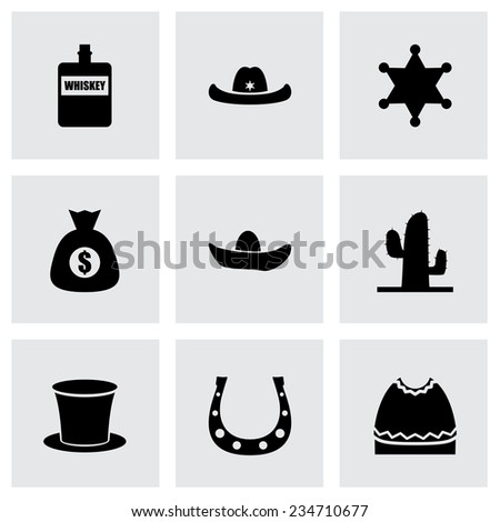 Vector wild west icon set on grey background - stock vector
