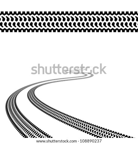 vector winding trace of the terrain tyres - stock vector