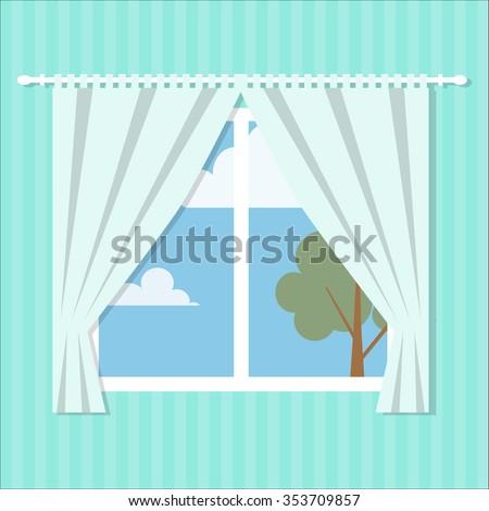 vector window flat style /Vector window/ flat window / window / icon window  - stock vector
