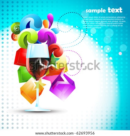 vector wine glass on artistic background - stock vector