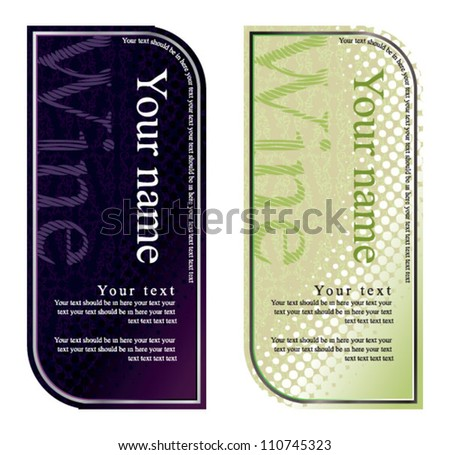 vector wine label, black and white - stock vector