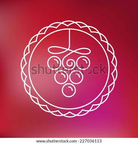 Vector wine line icon and logo - outline emblem and design element for vineyard - stock vector