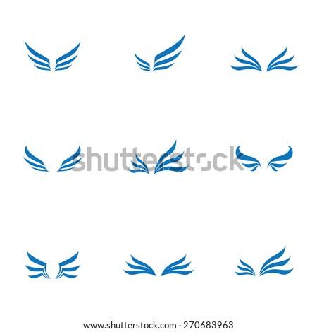 Vector wing icons set , logo - stock vector